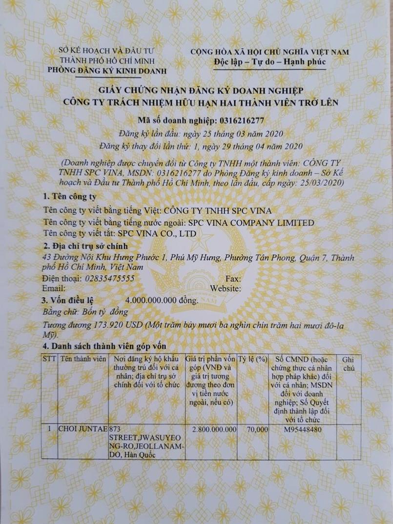 SPC VINA established in Vietnam Hochiminh(MAY,2020)